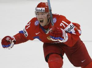 Ilya Kovalchuk of Russia reacts after sc