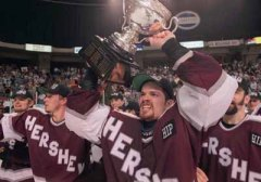 Winning the Calder Cup with Hersey.