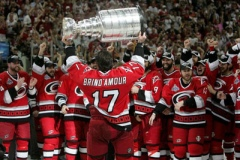 Rod Brind'Amour lifts the Stanley Cup for Carolina's first win.