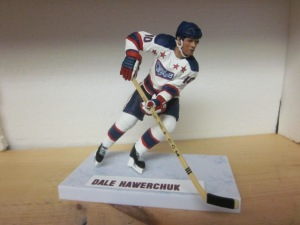 Dale Hawerchuk in model form with his 1980 Cornwall Royals uniforms.