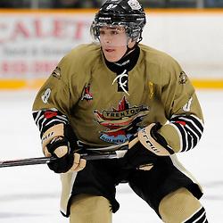 TRENTON, ON - Sep 12, 2014 : Ontario Junior Hockey League game action between North York and Trenton, Liam Morgan #8 of the Trenton Golden Hawks Hockey Club (Photo by Amy Deroche/ OJHL Images)