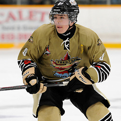 TRENTON, ON - Sep 12, 2014 : Ontario Junior Hockey League game action between North York and Trenton, Liam Morgan #8 of the Trenton Golden Hawks Hockey Club (Photo by Amy Deroche/ OJHL Images)