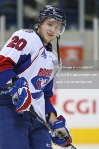 QMJHL (LHJMQ) hockey profile photo on Prince Edward Island Rocket Olivier Croteau December 16, 2011 at the Colisee Pepsi in Quebec city.