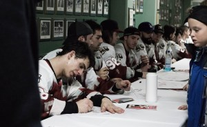 """""""The Autograph Zone"""" taking place after a home game."""